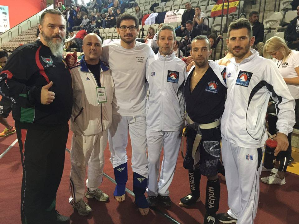 Adam Lacza (Kempo & WMMAA Hongrie), Eric La Rocca (Kenpô & WMMAA France), Jérémy Monaco (-93kg), thierry Aubian (coach), Willy Zancanaro (-61kg), Thibault Pack (-71kg)