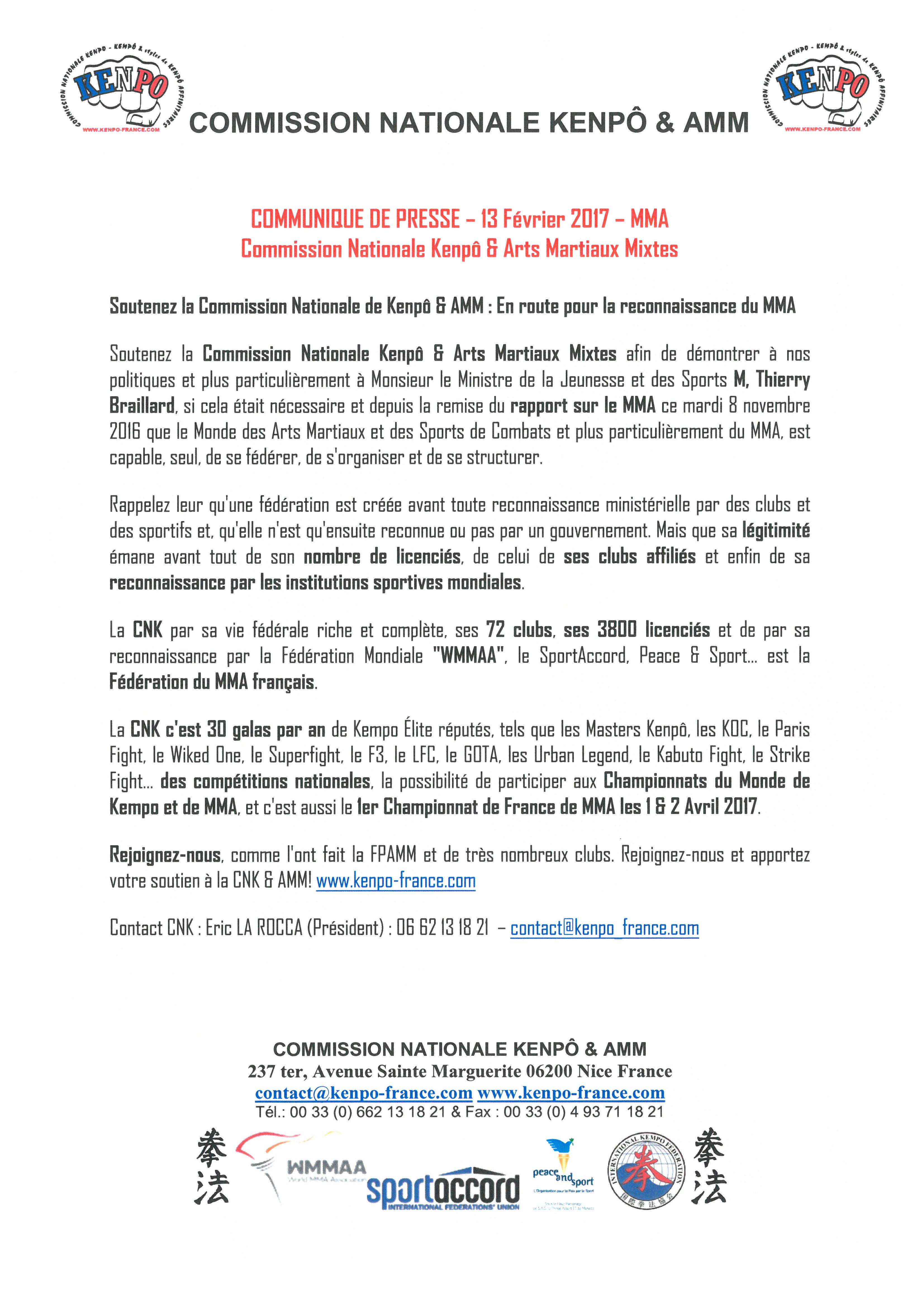 COMMUNIQUE DE PRESSE 13 FEVRIER 2017 MMA