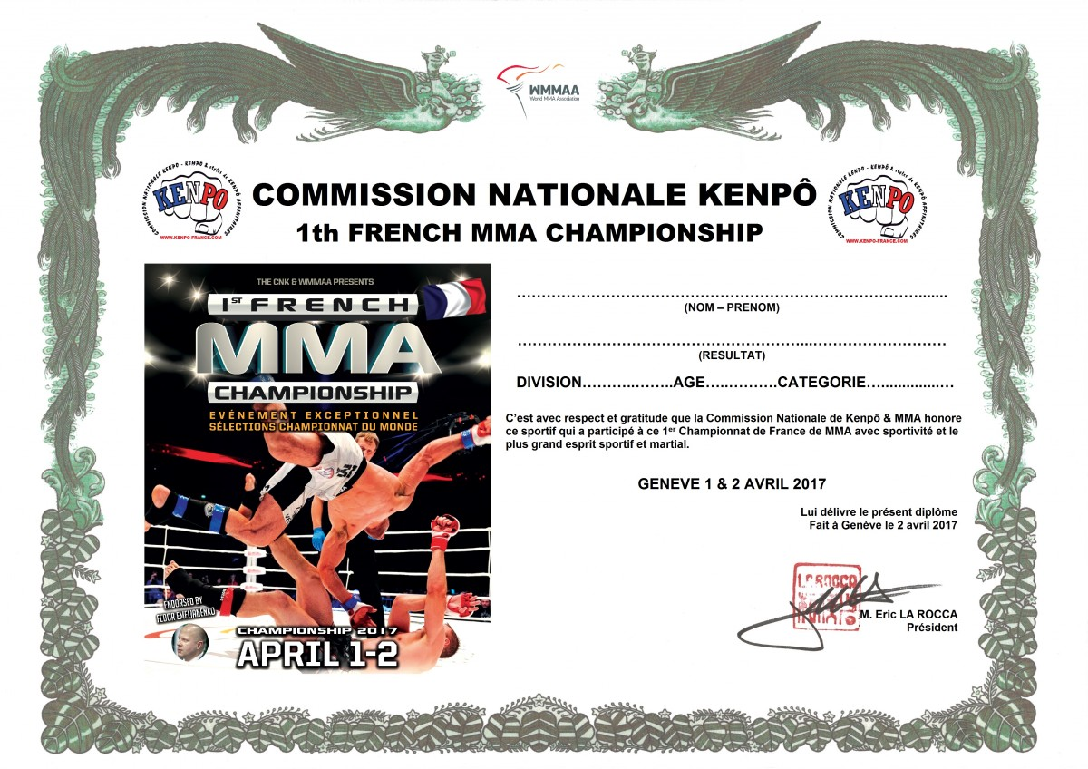 Diplôme 1th French MMA Championship