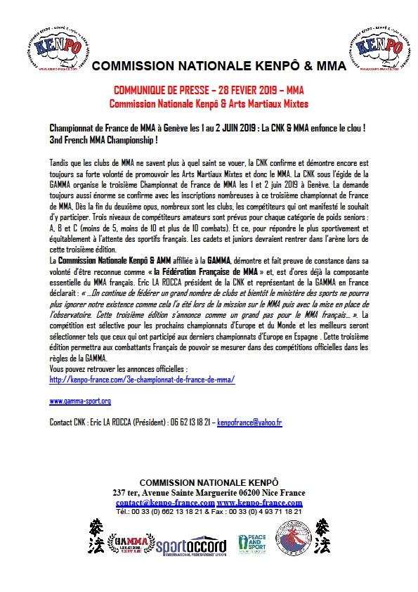 COMMUNIQUE DE PRESSE 28 FEVRIER 2019 CNK MMA page 1