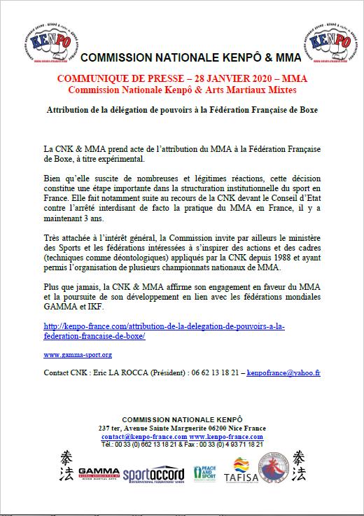 COMMUNIQUE DE PRESSE 28 JANVIER 2020 CNK MMA